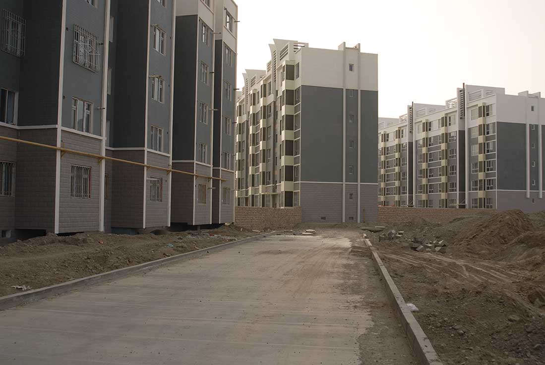 Apartment buildings in Korla's New City District.